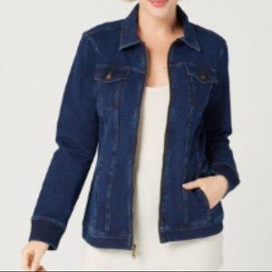 Denim&co comfy knit zip front jean jacket large